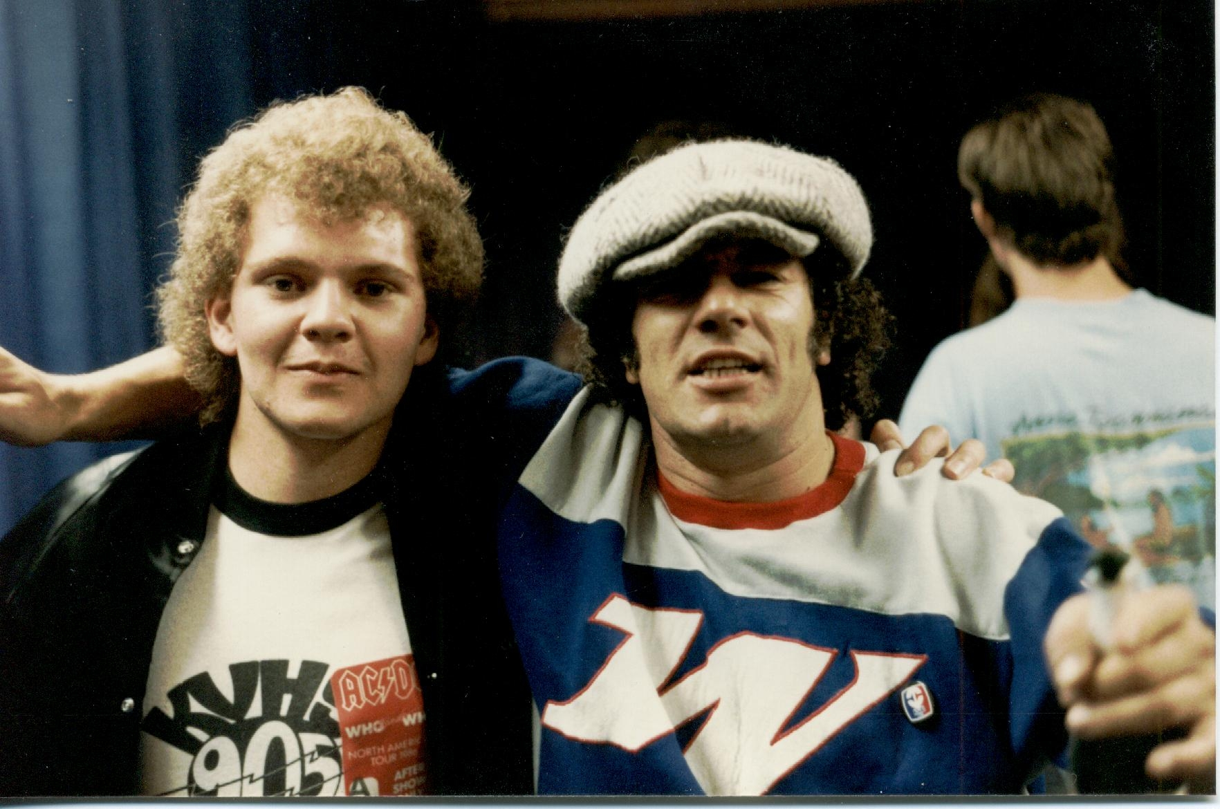 Brian Johnson of ACDC and Chris Cady backstage at the cow palace