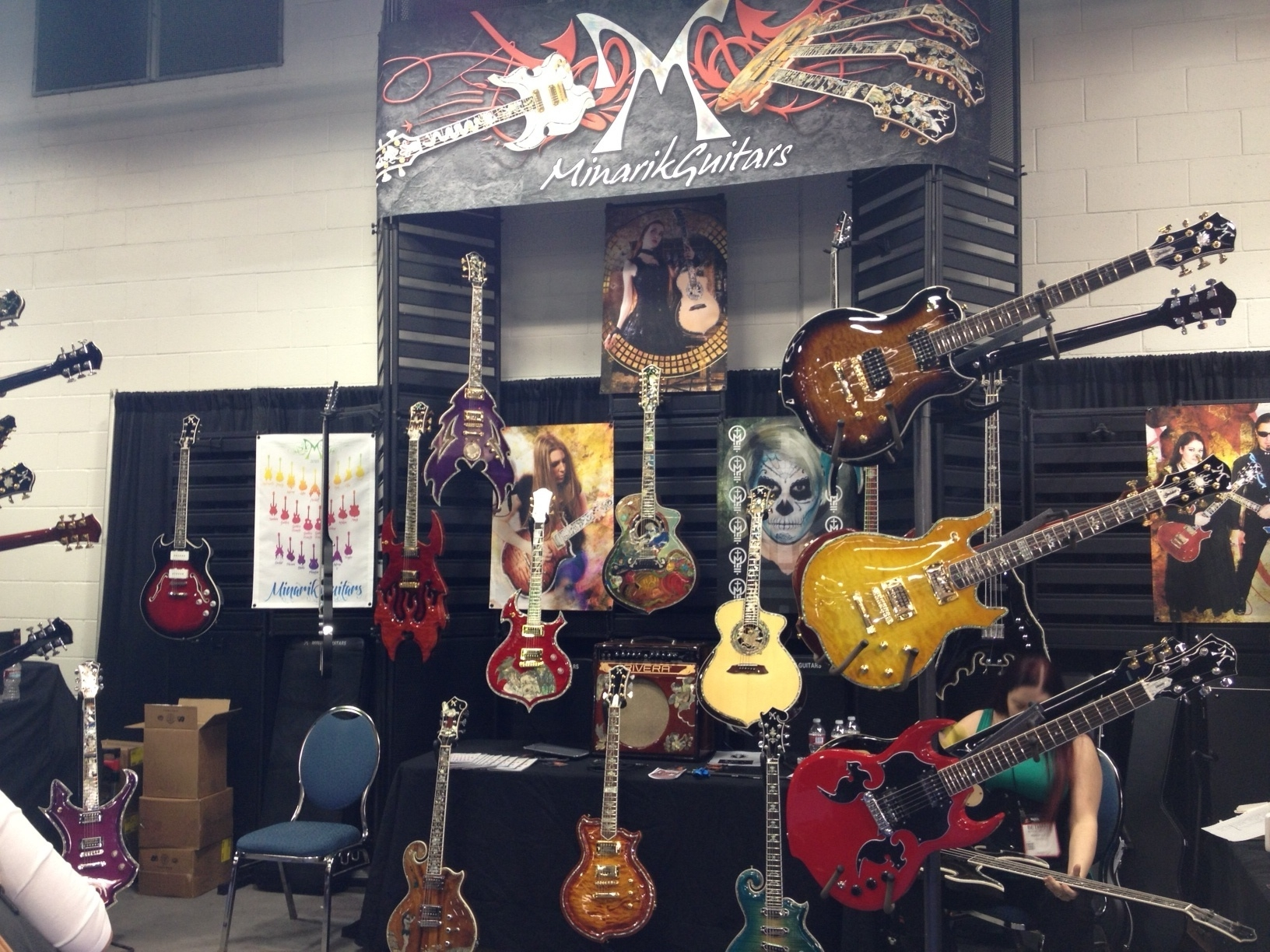 electric guitars on display