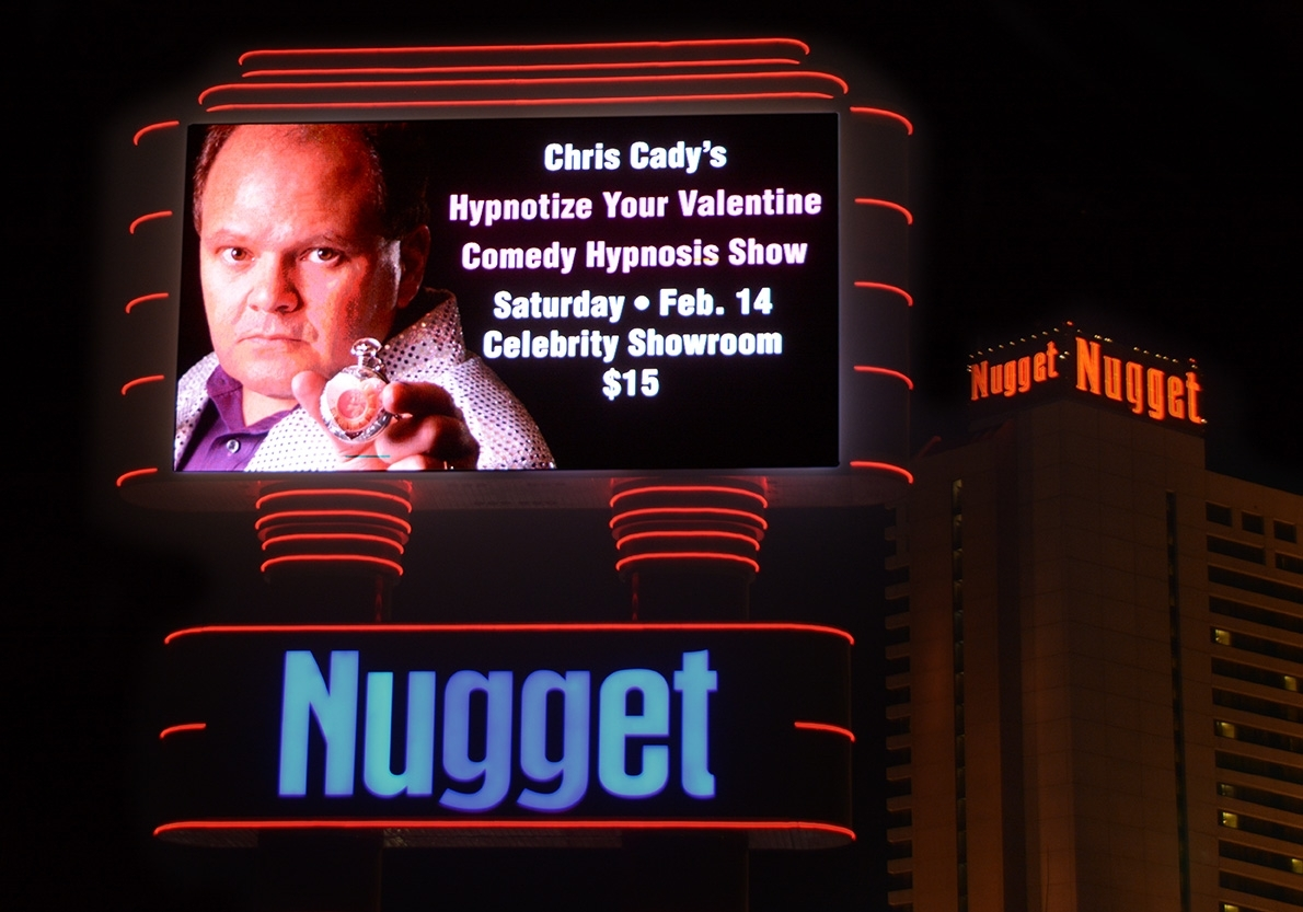 hypnotist stage fright anxiety coach Chris Cady show sign Reno Sparks Nevada